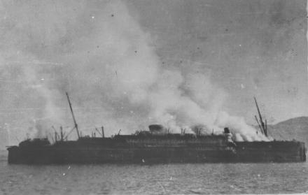 MV Georgic Ablaze during World War II
