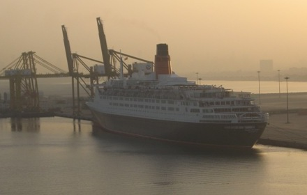 Queen Elizabeth 2 sits alongside the pier in Port Rashid Dubai