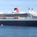 Queen Mary 2 at anchor.