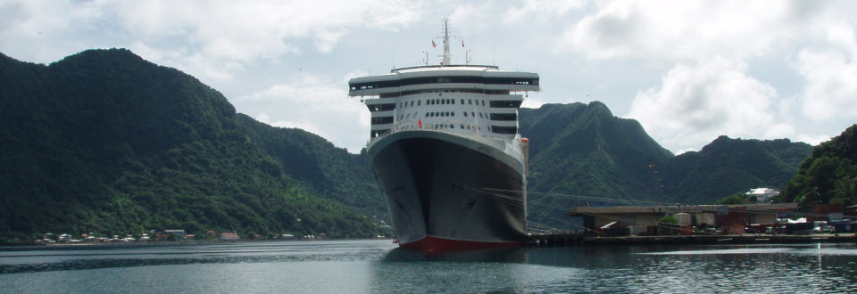 Cunard's QM2 at Pago Pago